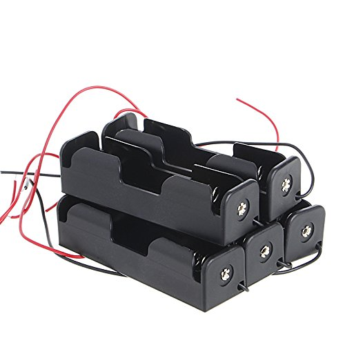SCASTOE 5pcs 18650 3.7V Rechargeable Battery Plastic Holder Box Case with Wire Lead