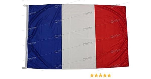 Bandera Francia 100x70 cm en tela náutico resistente al viento 115g/m², bandera francés 100x70 lavable, bandera de Francia 100x70 alta calidad con cordón, doble costura perimetral y cinta de refuerzo: Amazon.es: Jardín