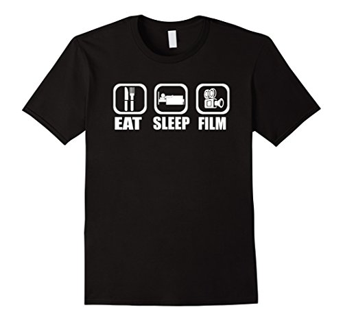 Mens Eat Sleep Film Movie Buff Actor Director Funny T-Shirt Medium Black