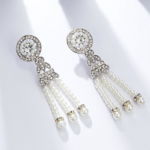 BABEYOND 1920s Flapper Art Deco Gatsby Earrings 20s Flapper Gatsby Accessories (Style 4-Silver) by BABEYOND (Image #3)