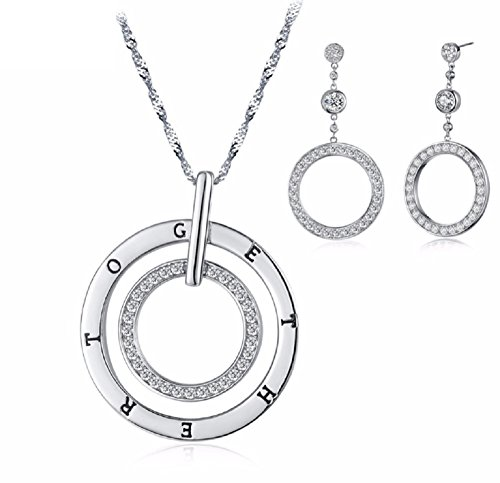 Drop Triple Circle Pendant (Elegant Round Pendant Necklace & Circle Drop Earring Jewelry Set with AAA Zircon)