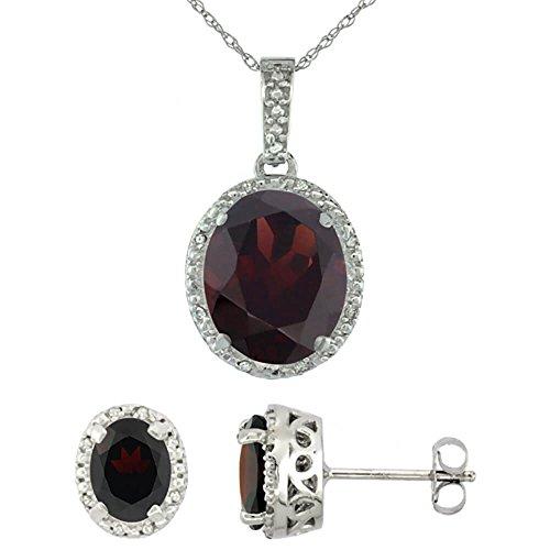 Or blanc 9Ct naturel Pendentif Ovale Grenat Boucles d'oreilles et Accents de diamant