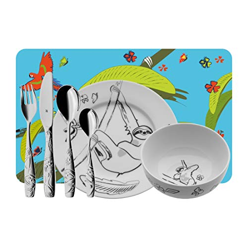 WMF Sloth Children's Crockery Set with Children's Cutlery and Placemat 7-Piece Set from 3 Years Cromargan Polished Stainless Steel Without Engraving ()
