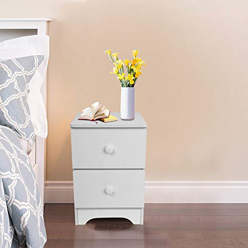 Swyss 2 Drawers Nightstand - Assemble Storage Cabinet Simple Modern White Imitation Wood Bedroom Bedside Locker (White)