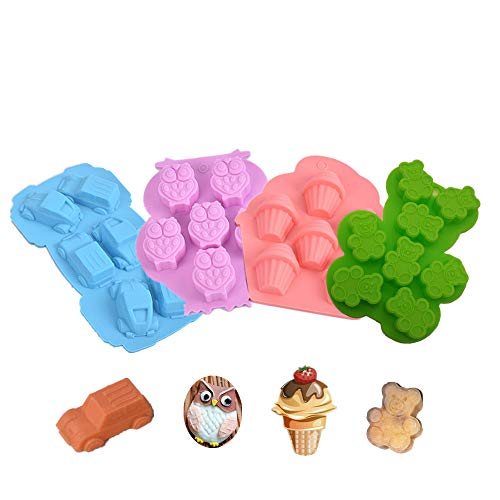 - Silicone Chocolate Candy Molds, KeepingcooX 4 Packs Non-stick Baking Molds Ice Cube Trays for Making Cake Muffin Cupcake Gumdrop Jelly - Owl, Teddy Bear, Car & Ice Cream, Nonstick Better than Plastic