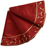 ANOTHERME Deluxe Handmade Large Christmas Tree Skirt with Holly Leaves 50 inch, Festive Holiday Party Decoration (Dark red)