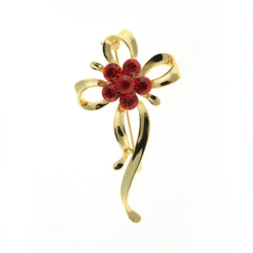 Janeo Brooches $14.99 Brooch Pin, Classic Clover & Bows, Silver Rhodium or 14K Gold Plated with Clear or Red Swarovski Crystal Elements. Budget Gift Idea or Special Occasion. -