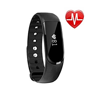 LETSCOM Fitness Tracker Watch, Bluetooth 4.0 Heart Rate Monitor Bracelet, IP67 Waterproof Touch Screen Smart Bands with Activity Tracker for iPhone Android Smartphone Black