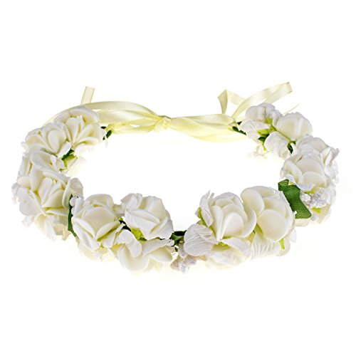 DDazzling Flower Headband Crown for Girls and Women (W Lvory)
