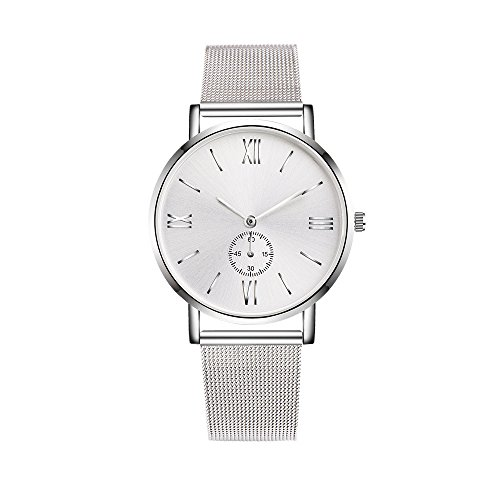 Geneva Stainless Steel Bracelets (Dressin Geneva Watch, Women Men Classic Stainless Steel Crystal Analog Quartz Wrist Watch Mesh Bracelet Watch (Silver))