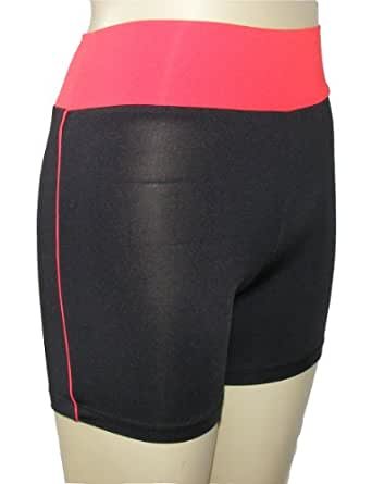 Yoga Shorts for ladies-Fitness Sports weare-5Color (M 150~160cm ≧48KG, Black+Red)