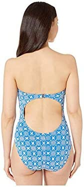Michael Michael Kors Women\'s Embroidered Tie Front One-Piece Bandeau w/Molded Cups