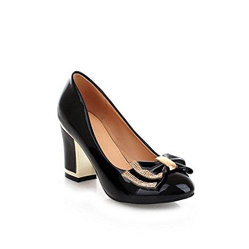 1to9 Dames Pull-on Laag Uitgesneden Bovendeel Hoge Hakken Rubberen Pumps-schoenen Zwart