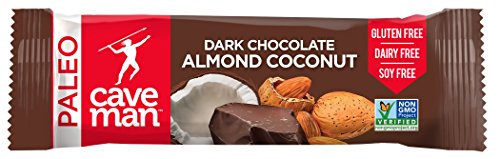Bar Chocolate Coconut - Caveman Foods Paleo-Friendly Nutrition Bar, Dark Chocolate Almond Coconut, 12 Count