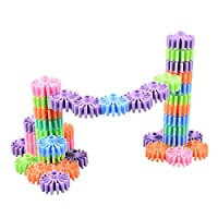HAPPYMATY Gears Building Blocks Puzzles Sets 18pcs Interlocking Plastic Building Toys STEM Educational Toys for 3 Years and up Grils Boys