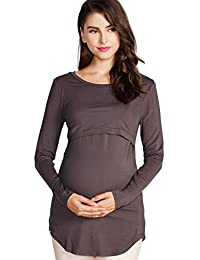 Sweet Mommy Bamboo Simple Maternity and Nursing Long Sleeve Tee Shirt