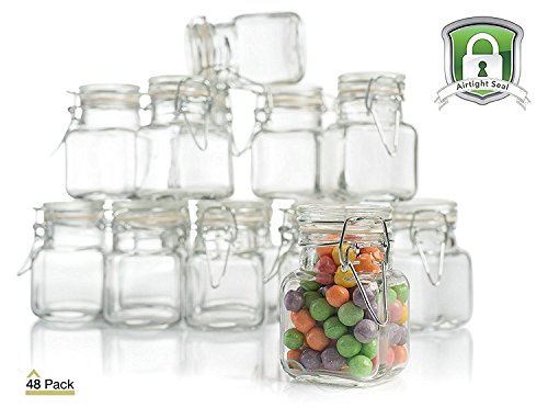 3 oz Glass Jars with Airtight Lids (48 Pack) Glass Spice Jars - Glass Jars for Wedding Party Favors - Leak Proof Rubber Gasket and Hinged Lid for Spice and Herb Storage - Arts and Crafts Jars -