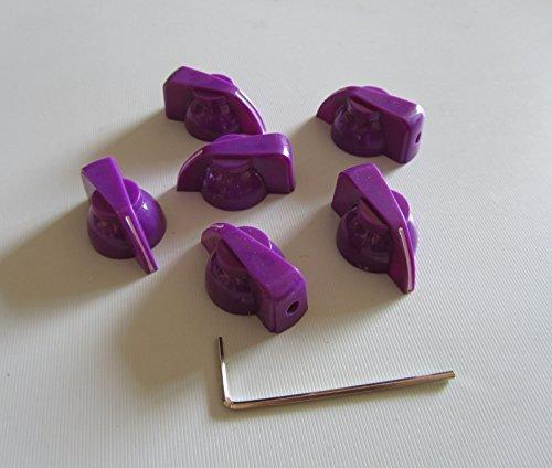 Brass Insert Guitar Chicken Head Knob AMP Effect Pointer Knob, 6 Pcs Purple