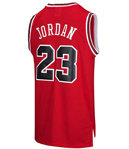 RAAVIN Legend Mens #23 Basketball Jersey Retro Athletics Jersey Red Strip S-XXXL (RED, Large)