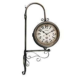 Grey Wrought Iron Vintage-Inspired Train Railway Station Style Round Double Side Two Faced Wall Hanging Clock - 25.5 inches tall BLACKHEATH IRONWORKS, LONDON  -Spinnaker Collection