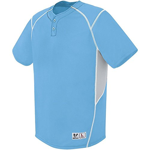 - High Five Adult Bandit 2-Button Jersey,Columbia Blue/Silver Grey/White,XXX-Large