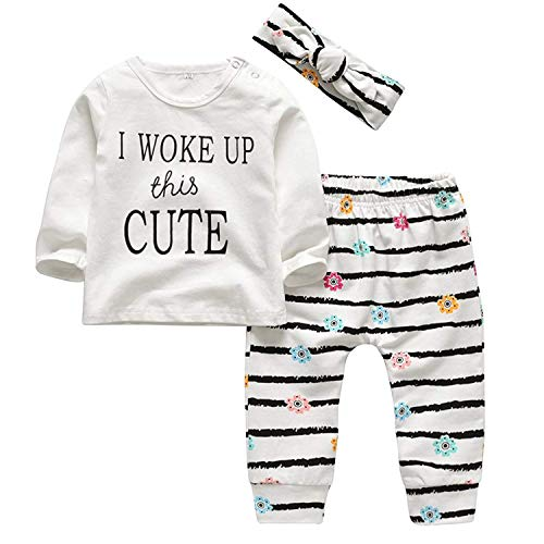 3PCS Infant Toddler Kids Baby Girls Outfits Letter