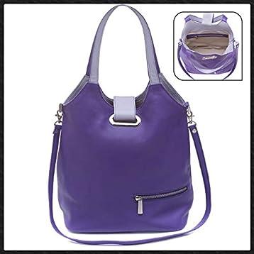 Bolso de hombro mujer marca española Ginok De piel elegante, calidad premium Hecho a mano 100% en España Diseño original Ginok Azul, Negro,