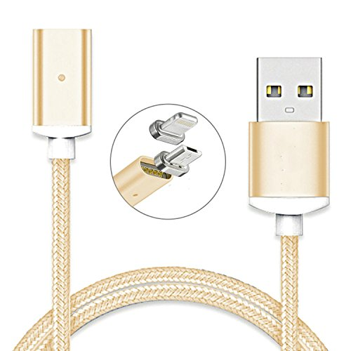 kingsida Magnetic Data Cable, For Micro USB & iPhone Interface 2 in 1 for iPhone 8, 7, 7 Plus, iPad Pro, Air 123, samsung, Charging & Data Transmission USB Cable(Gold) by Kingsida