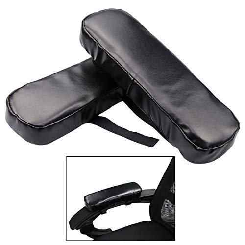 Enerhu Set of 2 Adjustable Waterproof Armrest Pad Memory Foam Armrest Replacement Pads Chair Arm Rest Pads for Office Home Chair Black by Enerhu