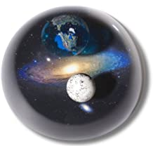 Shasta Visions Art Glass Paperweight-Planet Earth, Moon, Andromeda Galaxy-3 Inch Andromedome