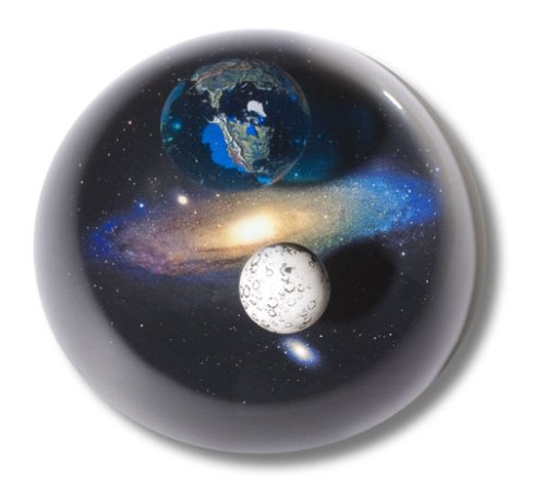 (Shasta Visions Art Glass Paperweight-Planet Earth, Moon, Andromeda Galaxy-3 Inch Andromedome)