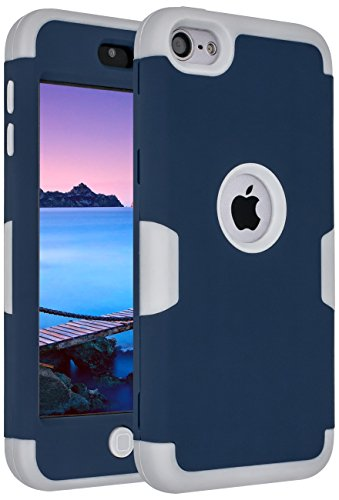 Generation Silicone Skin - iPod Touch 6 Case,iPod Touch 5 Case,ANLI(TM)[Colorful Series] 3-Piece Style Hybrid Silicon Hard Case Cover for Apple iPod Touch 5 6th Generation Navy Blue/Gray