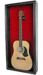 Acoustic Guitar Display Case Wall Shadow Box Cabinet, With LOCK, GTAR1B(RED)