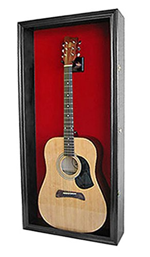 Acoustic Guitar Display Case Wall Shadow Box Cabinet, with LOCK, GTAR1B(RED)-BLA
