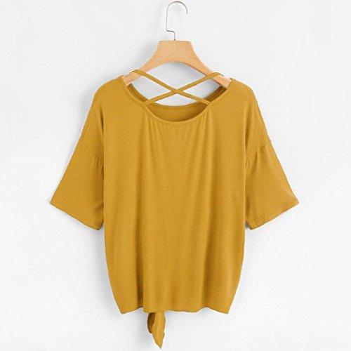 Solid T chemisier Knot ❤️Femmes Tefamore Jaune Back demi shirt Casual Crisscross 5WaqqcgA