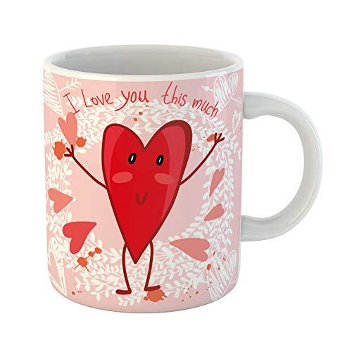 Emvency Coffee Tea Mug Gift 11 Ounces Funny Ceramic Orange Abstract Valentine of Heart and Floral I Love You This Much Amour Gifts For Family Friends Coworkers Boss Mug ()
