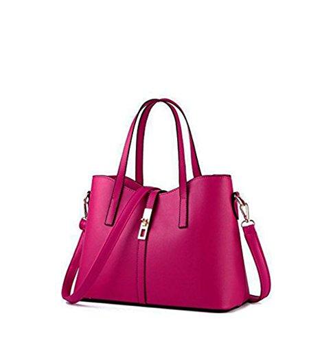 Donne rivestono di pelle a tracolla borsa Messenger Bag Rose Pink