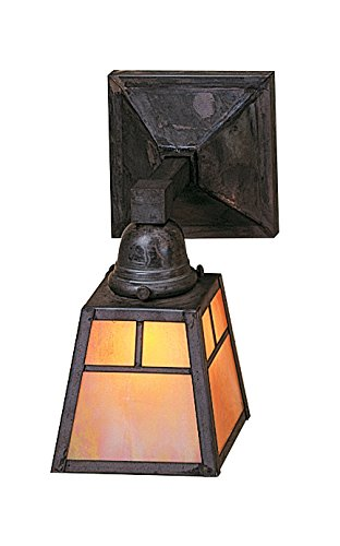Arroyo Craftsman Sconce - Arroyo Craftsman AS-1TGW-BZ A-line Shade One Light Sconce with T-Bar Overlay, Bronze Metal Finish, Gold White Iridescent Glass