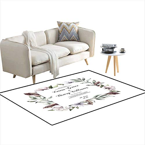 Area Rugs for Bedroom Handrawn Watercolor Illustration - Floral Frame Spring Branches wi Anemone Flowers anfeathers Perfect for Wedding invi 4'x18' -