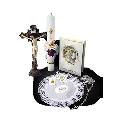 Spanish Handmade First Holy Communion Set for Girl Holy Table-Top Crucifix Jesus on Cross, Candle, Bible, Illustrated Purse and Rosary –Religious Gift
