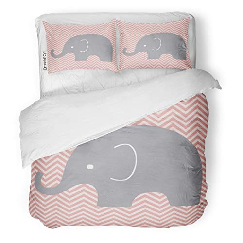 Semtomn Decor Duvet Cover Set Twin Size Baby Nursery Elephant Room Wall Chevron Children Pattern Alphabets 3 Piece Brushed Microfiber Fabric Print Bedding Set Cover]()