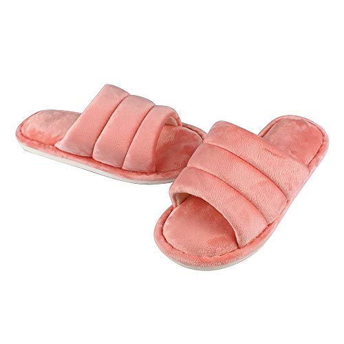 MK MATT KEELY Open Toe Women Slippers Warm and Non-Slip House Shoes Memory Foam Watermelon Red 6.5-8 M