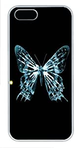 Transparent Butterfly Fringe Custom Hard Case Cover for iPhone 5s and iPhone 5 - Polycarbonate - White