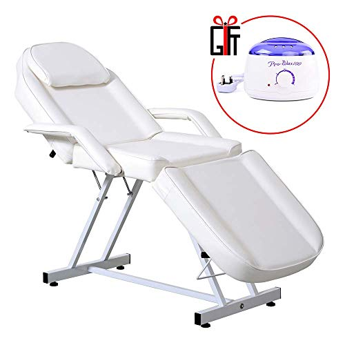 Reclining Salon Spa Beauty Chair Waxing Bed Massage Table Styling Equipment W/Wax Warmer
