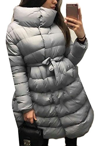 Pillow Collar Down Jacket (Xswsy XG Womens Stand Collar Slim Fit Swing Down Jacket Coat Grey XS)