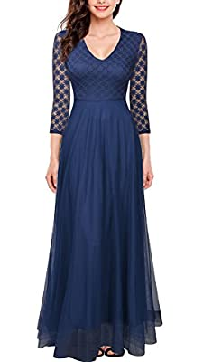 FORTRIC Women 3/4 Sleeve Top Lace See-Through Back Wedding Maxi Bridesmaid Dress