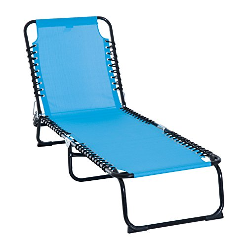Outsunny 3-Position Reclining Beach Chair Chaise Lounge Folding Chair - Light Blue
