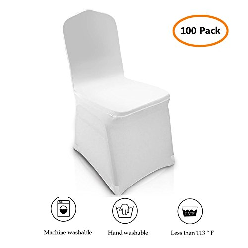 100 pcs Universal Chair Covers Spandex White for Wedding Party Banquet Folding Chairs Decoration [US Stock] (White 2) ()