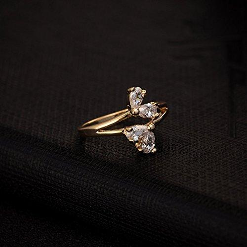 YAZILIND 18K Style de Cristal élégante fleur moderne Anneau blanc Fille plaqué or nouvelle tendance de Nice
