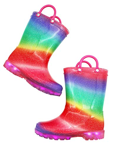 TQ Homebase Girls Rain Boots Rainbow Color with Light up and Handles for Little Kids Size 1 M